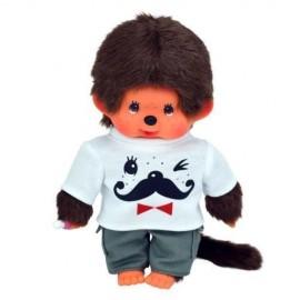 peluche kiki Monchhichi 20cm garçon tenue t-shirt moustache peluche