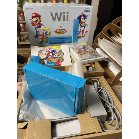Console Nintendo Wii bleu notice boîte mario et sonic londre 2012 Wii complete